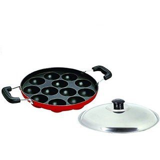CIMORA Non-Stick 12 Cavity Appam Patra Side Handles with lid, Color Red