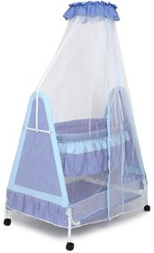 Kiddery Polkamania Blue Baby Bassinet With Mosquito Net