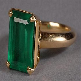 Emerald Gold Plated Gold Foil Green original certified stone panna 6.25 carat stone Ring by CEYLONMINE