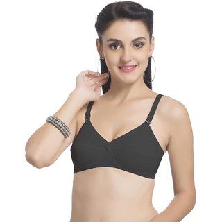 Ultrafit Ultima Black Non-Wired Non-Padded Daily Wear Cotton Bra for Women