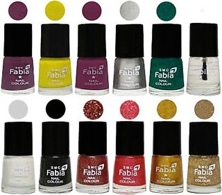 Fabia Matte Nail Polish Pack of 12 Multicolor 6 ml Wedding Collection 24