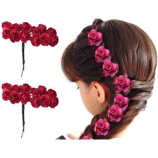 Maahal Pack Of 24Pcs, Red Rose Flower Hair Juda Pin Hair Accessories for Women/ Girls