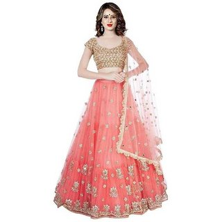 Festive Wear Orange and Goldan color Net material Lehengha choli for woman and girls(RFOrangePari)