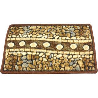 Neska Moda Anti Slip And Anti Skid Brown Microfiber Rectangle Shape Floor/Door Mat FM24