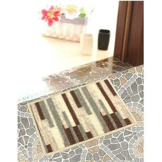 Neska Moda Anti Slip And Anti Skid Brown And Beige Microfiber Rectangle Shape Floor/Door Mat FM26