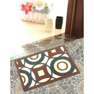 Neska Moda Anti Slip And Anti Skid Brown And Dark Blue Microfiber Rectangle Shape Floor/Door Mat FM27