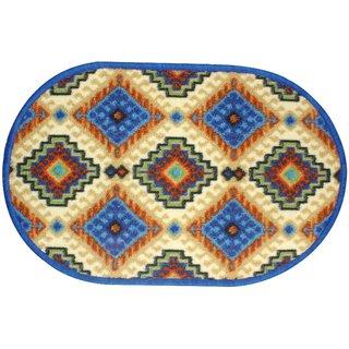 Neska Moda Anti Slip And Anti Skid Blue Microfiber Oval Shape Floor/Door Mat FM69