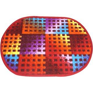 Neska Moda Anti Slip And Anti Skid Multicolor Microfiber Oval Shape Floor/Door Mat FM70