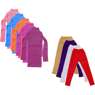 IndiWeaves Girls Winter Wear Super Warm Full Sleeves High Neck Skivvy and Cotton Legging (Pack of 9)