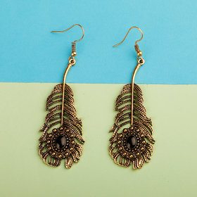 Silver Shine Golden Peacock Feather Earrings for Women