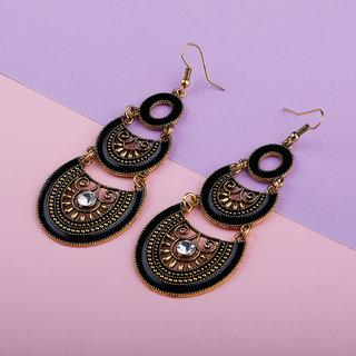 Silver Shine Voguish Golden Fish Hook Earrings for Women