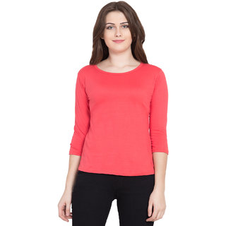 Haoser Pink Tshirts for Women, 3/4th Sleeve Solid Cotton Pink Round Neck Tshirt for Women