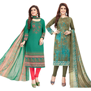C G FASHION Synthetic Unstitched Dress Material For Women - Green/ Grey