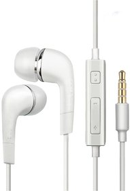 Super Bass 3.5mm Jack  Mic Volume Control YS-EHS61ASFWE Headphone/Earphone Compatible  for All Samsung/Anroid/ iOS Devices - (White)