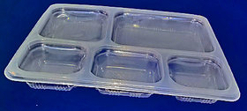 Plastic disposable meal tray of five compartments with lid (50 pcs)