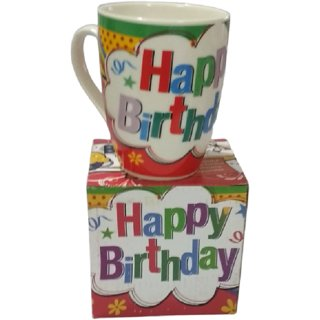 Metalcrafts, Birthday ceramic coffee mug Blue, for gifting or self use, colourful, normal size.