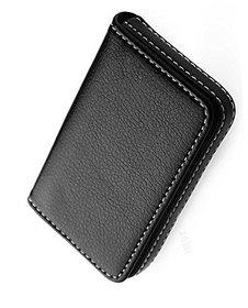 Stylish Pocket Size Stitched Leather Visiting Card Holder For Keeping Business Card- Black (Unisex)