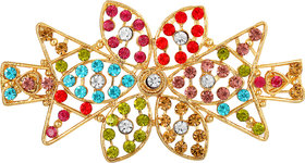 MFJ Fashion Trendy Flower Design Zinc Gold Plated Multy Stone Hair Clip For Women