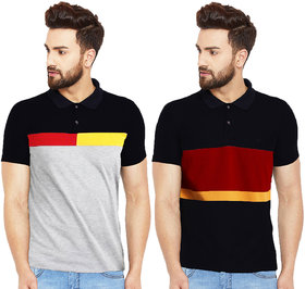 Pack Of 2 Leotude Black Polo Collar T-Shirts For Men