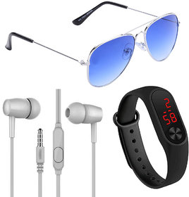 Adam Jones Blue UV Protection Metal Full Rim Aviator With Free Ear Phone Assorted Color And LED Watch Band