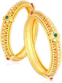 Sukkhi Elegant Floral Gold Plated Pearl Bangle Set For Women (Set of 2)