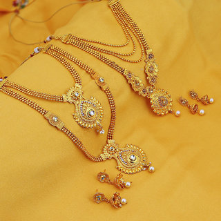 Sukkhi Traditional Gold Plated Long Haram Necklace Set For Women