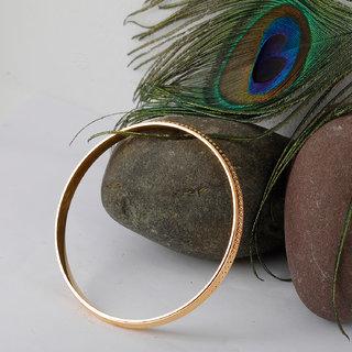 Silver Shine Gold Plated Metal Thin Round Ridged  Punjabi Kada Bangle Bracelet For Boys and Mens.