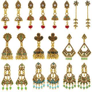 Sukkhi Modish Gold Plated Earring Combo for Women (Set of 10)