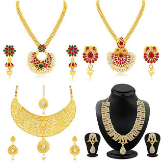 Sukkhi Splendid Gold Plated Pearl Necklace Set Combo  For Women