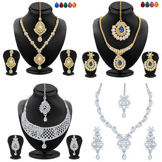 Sukkhi Delightful Gold and Rhodium Plated Necklace Set Combo  For Women