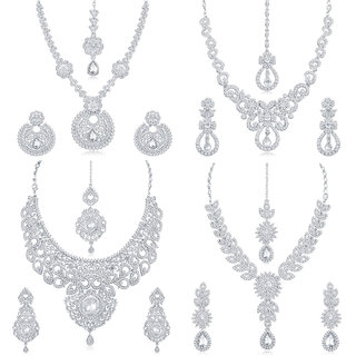 Sukkhi Eye-Catchy Gold and Rhodium Plated Necklace Set Combo  For Women