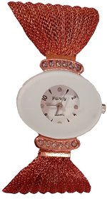 Young  Forever Analogue White Dial Golden Strap Women's  Girl's Watch