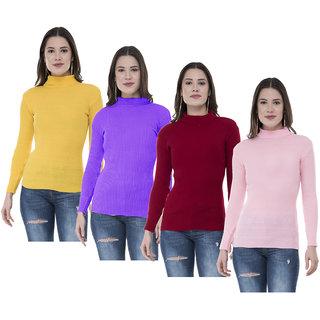 IndiWeaves Women Woollen Warm Full Sleeves High Neck Skivvy (Pack of 4)