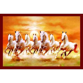 Vastu Nano Posterwhite 7 Horse Running Sticker Poster