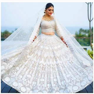 salwar soul Delightful White Color Georgette Embroidery Wedding Lehenga Choli