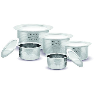 Kloud 9 Hammered Induction Bottom Avni Tope Set with Lid  - Pack of 5 pcs
