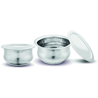 Kloud 9 Hammered Induction Bottom Myra Tope Set with Lid  - Pack of 2 pcs