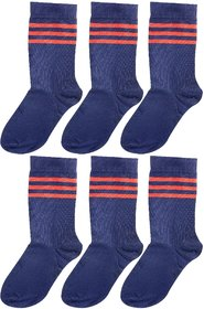Neska Moda Boys And Girls 6 Pair Cotton Dark Blue Mid Calf KV Kendriya Vidyalaya School Socks For  Age 8 To 10 Years
