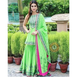 salwar soul Mesmeric Light Green Color  Party Wear Sharara Suit