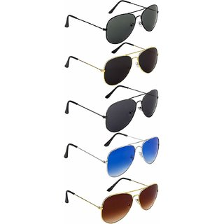 Debonair Multicolor Mirrored Aviator UV Protected Sunglass  - Pack of 5