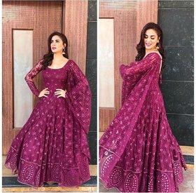salwar soul Shraddha  Arya  Charming Purple Georgette Party Wear Suit