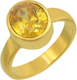 Memoir Gold Plated Faux Pukhraj Fashion Finger Ring Women