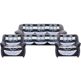 Dakshya Industries Cottom Sofa cover (Black, White - Pack of 6)