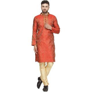Abh lifestyle mens orange jacquard silk kurta pajama set