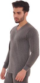 Laser Men's Grey Striped Cotton Blend V-Neck Thermal Upper
