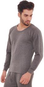 Laser Men's Grey Striped Cotton Blend Round Neck Thermal Upper