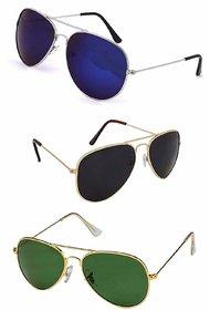 Combo of 3 Debonair Mirrored Aviator Unisex UV Protected Sunglasses