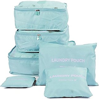 House of Quirk Travel Storage Bags Set, Printed Clothes Packing Cubes Space Savers, Cosmetics/Underwear/Socks/Shoes Organizer Pouch Dividers for Luggage, Pack of 6