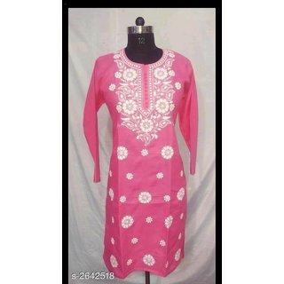 AK Lucknowi Chikan Regular Wear Cotton Kurta Kurti pink color with white kadhai