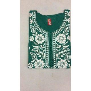 SN Lucknowi Chikan Regular Wear Cotton Kurta Kurti dark green color with white kadhai